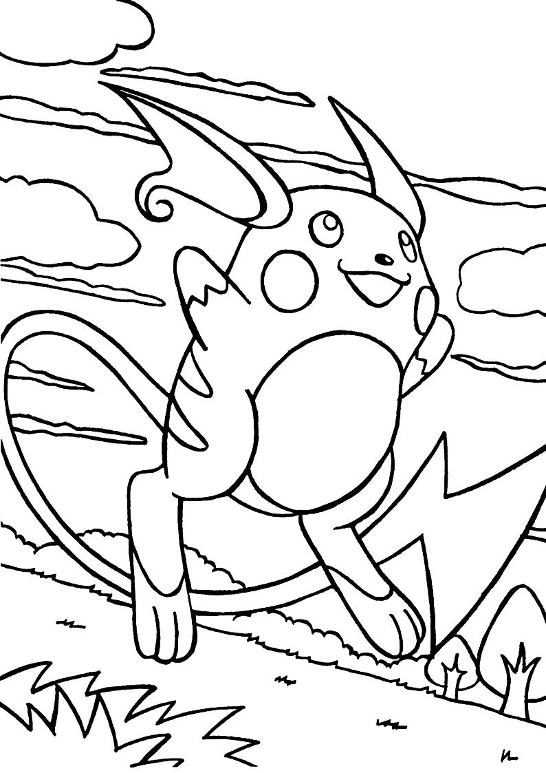 Kolorowanka Pokemon Raichu