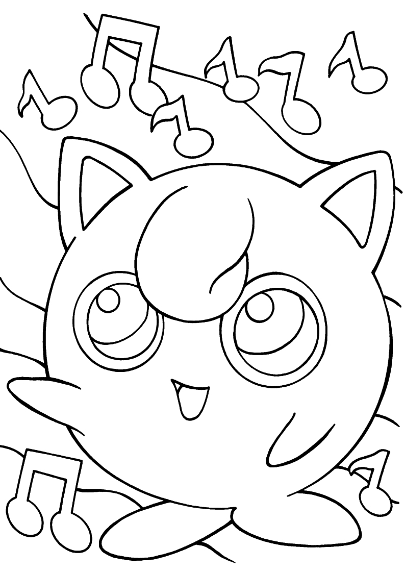 Kolorowanka pokemon wr ka jigglypuff malowanka do wydruku for Jigglypuff coloring page