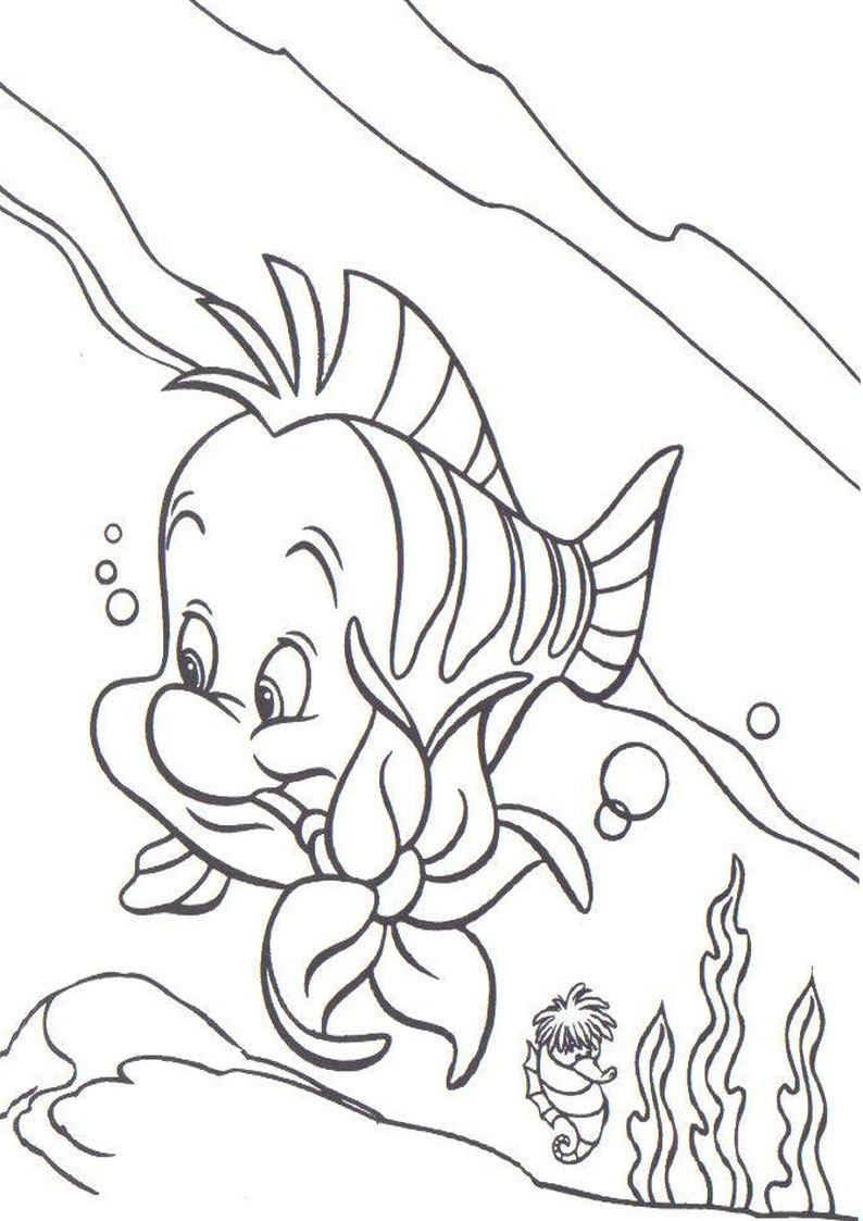 Флаундер из русалочки раскраска